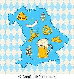 Map of Bavaria with oktoberfest symbols - Map of Bavaria,...