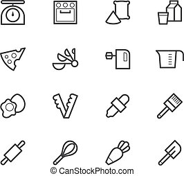 bakery tools black icon set on white background