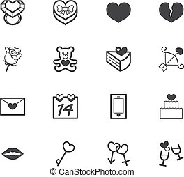 valentine day black icon set on white background