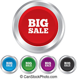 Big sale sign icon. Special offer symbol. Round metallic...