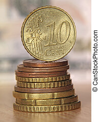 Pilha, dez, topo, moedas, centavo, equilibrar, moeda,  Euro