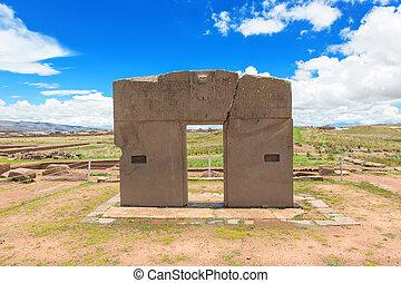 puerta, sol, Tiwanaku, Bolivia