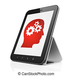 Data concept: Head With Gears on tablet pc computer