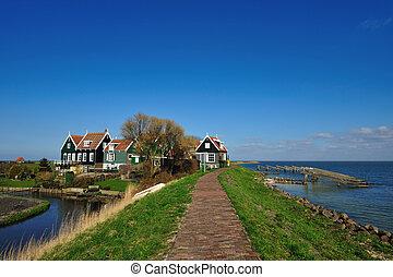 old dutch houses in Marken a small village near Amsterdam