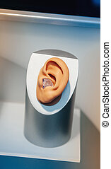 Hearing aid close-up placed inside the model of a human ear