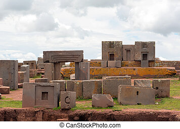 Megalithic stone complex Puma Punku - Megalithic stones with...