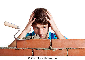 Problematic brick wall - Man having a problem with building...