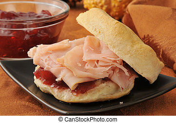 Turkey sandwich on a biscuit