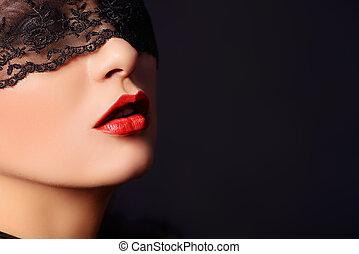 sensuality - Close-up portrait of a charming woman in black...