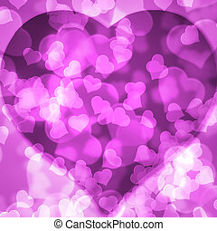 Pink background blurred lights heart - Pink background of...