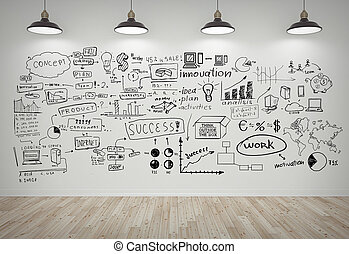 drawing business concept on white wall