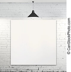 poster in room - blank poster in room with ceiling lamp