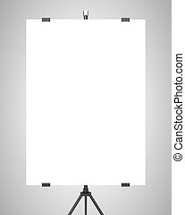 blank poster on tripod on gray background