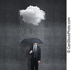 man and rain - businessman with umbrella and rain