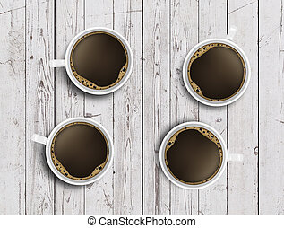 four cups of coffee on wooden table