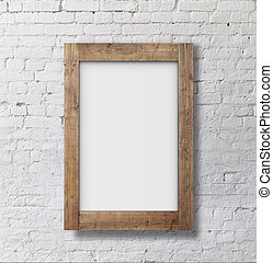 brown frame on brick wall