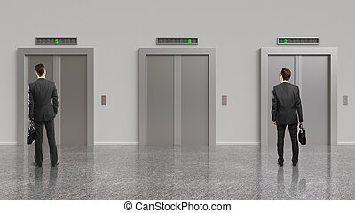 two businessman and elevator with closed doors