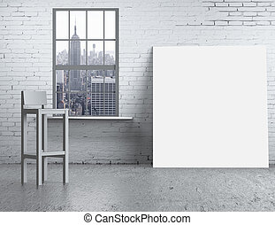 blank poster - brick loft with chair and blank poster