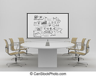 flipchart with concep - flipchart with business concept in...