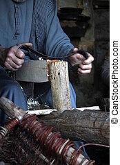 lavoro, vecchio, carpentiere