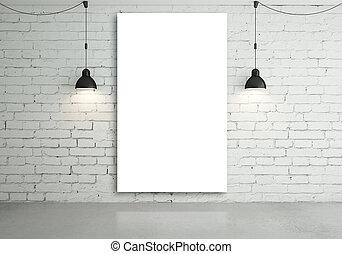 cartel, lámparas