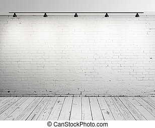 ladrillo, habitación, lámpara