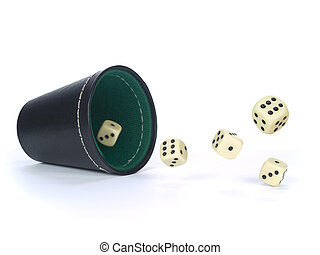 Dice shaker with dices isolated on white.