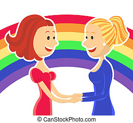 Young lesbian couple of women - Young lesbian couple of two...