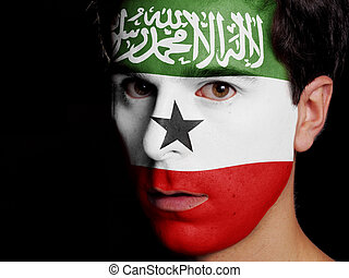 Flag of Somaliland Painted on a Face of a Young Man
