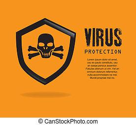 security system over orange background vector illustration