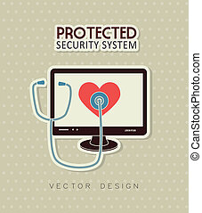 security system over dotted background vector illustration
