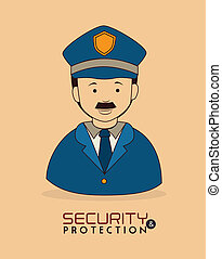 security system over pink  background vector illustration