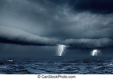 Stormy weather in sea - Nature force background - bright...