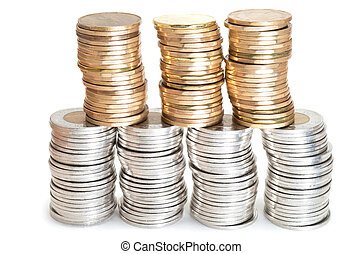 Stacks of Canadian coins