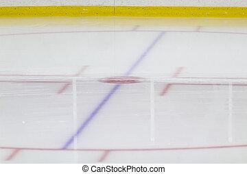 Face-off circle at an ice hockey arena