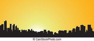 City contour against the coming sun