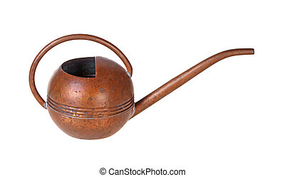 Antique copper watering can isolated against white