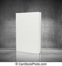front view of blank book on concrete background