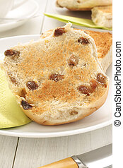 Toasted Teacakes a traditional bun filled with raisins and...