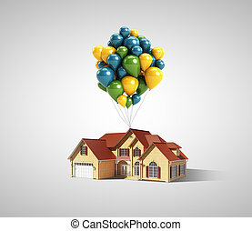 house and balloons on a white background