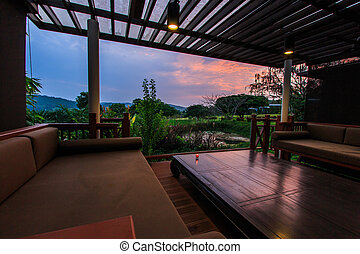 Interior design: Beautiful modern terrace lounge Morning