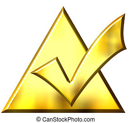 3D Golden Ticked Triangle