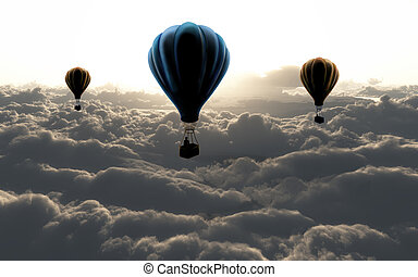 three air baloon on sky with clouds