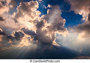 raios, luz, brilhar, através, escuro, Nuvens, fundo