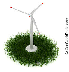 Wind Turbine - Wind turbine and green grass