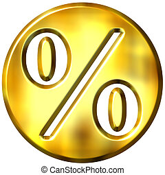 3D Golden Framed Percentage Symbol