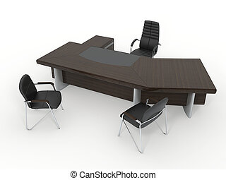 The office director\'s furniture complete set isolated on...