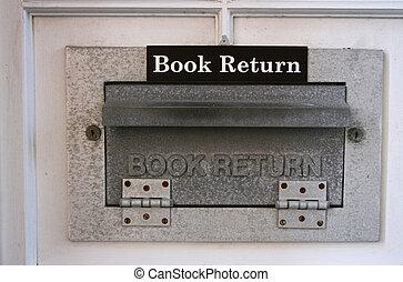 Book Return Chute - Close-up of library book return chute