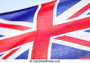 Closeup of UK ensign british flag Symbol of european country...