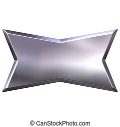 3D Silver Banner - 3d silver banner isolated in white